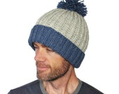 Xavier Ski Hat Brioche Rib Chunky Hand Knit Thermal Beanie Grey Denim Blue Merino Wool Large Pompom M/L L/Xl Gift Wrapped
