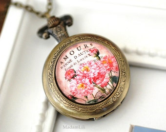 Shabby Chic Locket Watch Necklace