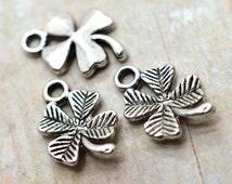 Four Leaf Clover Charms,  15pcs,  St Patricks Day, Shamrock Charm, Silver Clover Charms - C181
