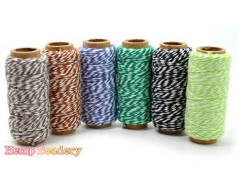 Cotton Bakers Twine, 6 Mini Spools, Card Making Kit, Baker's Spool, Cotton Bakers Twine - BT4