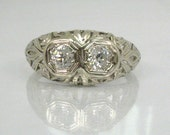 Vintage Old European Cut Diamond Engagement Ring - Two Stone Ring - Appraisal Included