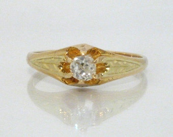 Old European Cut Diamond Engagement Ring - 0.17 Carat - Antique