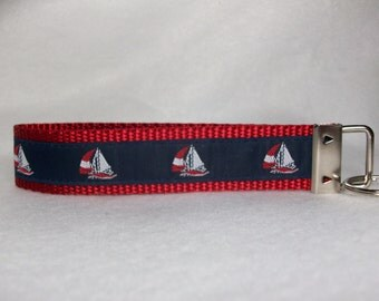 Key Fob With Sailboats Wristlet Style