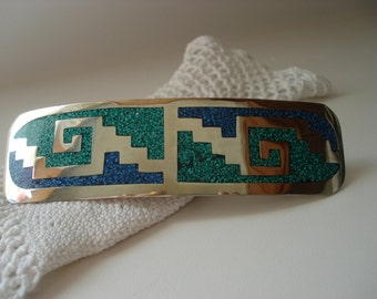 SALE Vintage Native American Large Sterling Silver Turquoise Lapis Inlay Barrette