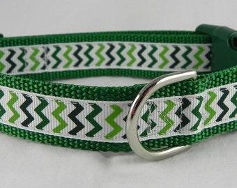 Green Chevron Dog Collar / Christmas Dog Collar / St. Patrick's Day Dog Collar