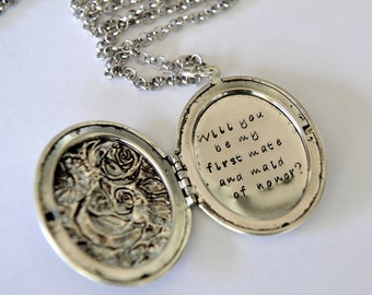 Bridesmaid Gift Maid of Honor Gift Locket Necklace Hand Stamped Locket Wedding Ideas
