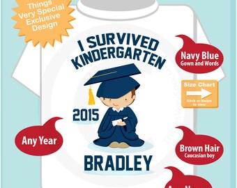 Personalized I Survived Kindergarten Shirt Kindergarten Graduate Shirt Child's Back To School Shirt (04152014i)