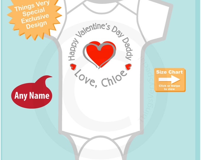 Girl's Happy Valentine's Day Daddy Onesie Bodysuit or Tee Shirt, Personalized with your child's name - heart tshirt kids (12292014c)