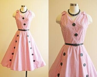 50s Dress - Vintage 1950s Dress - Pink Black Gingham Cotton Full Skirt Garden Party Sundress M L - Strawberry Hills