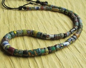 Mixed Vintage Trade Bead Necklace with Sliding Clasp