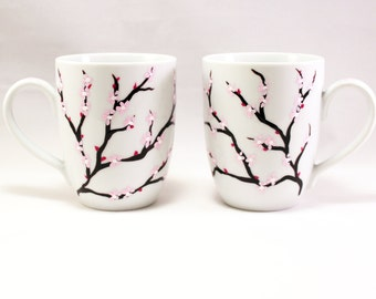 Cherry blossom coffee mugs, hand painted mugs with cherry blossoms, painted ceramic mugs, set of 2