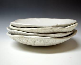 Reserved for ISABELA & CHARLES'S WEDDING - Salad plates - ceramic dessert plates, Handmade set of 4