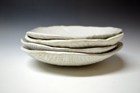 Ceramic dessert plates, salad plates Handmade set of 4  Wedding gift Organic Handmade Tableware by Christiane Barbato salad plates