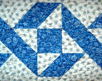 Blue Yellow and White Quilted Patchwork Table Runner, Ribbon Block, 18 x 54 Inches