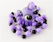 Littlest Pet Shop Octopus Necklace, Purple, Black, Kawaii Jewelry, Pastel Goth
