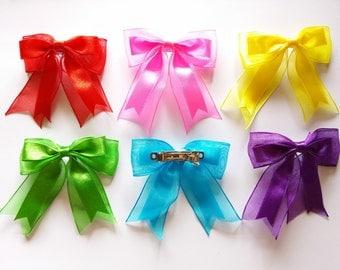6 pcs handmade Satin Bow Ribbon Barette clips  Mix color size 70mm