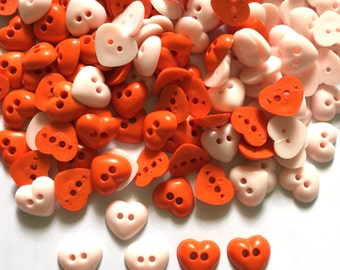 30 pcs heart buttons 2 holes size 12 mm