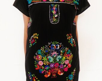 Mexican Black Mini Dress Birds Embroidered Handmade Very Elegant Small