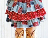 Custom Order for Sharon Cowgirl Triple Ruffle Skirt & coordinating Vest  Set