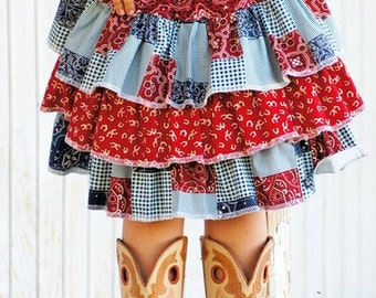 Cowgirl Triple Ruffle Skirt made from Create Kids Couture Pattern, Girl's Skirt, Choose Your Size