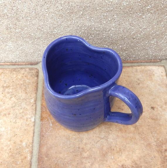 Coffee Mug Tea Cup Heart Shaped Rim Wheel Thrown Stoneware