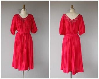 Vintage 70s Dress   70s Midi Dress   1970s Dress   70s Tent Dress   Cotton Guaze Dress   Boho Dress 1970s   70s Boho