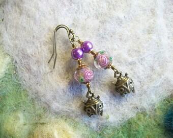 Purple Ladybug Beaded Earrings, Bronze Ladybug Earrings, Nature Garden Earrings, Bugs