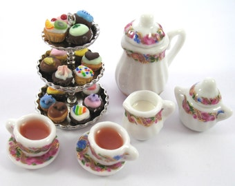 Dollhouse Miniature Food Tea and Cupcake Three Tier Set in 12th Scale