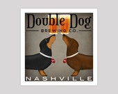 custom DOUBLE DACHSHUND Wiener Dog Ginger Beer Brewing Company graphic art giclee print  SIGNED Hot Dog