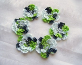 Appliques hand crocheted flowers motif  set of 6 white black lime green cotton 1.5 inch