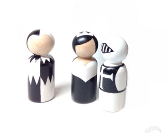the black & white collection: monochrome castle peg doll trio