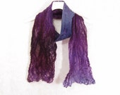 Felted Scarf Wool Scarf Gift for Her Winter Scarf Winter Fashion Winter Accessory Purple Scarf Womens Scarf in Purple Plum Gray Blue OOAK