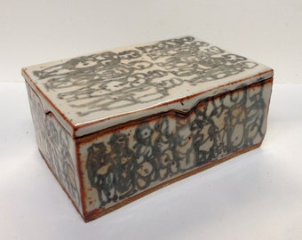 "Shino Glazed High-fire Stoneware Lidded Box - ""Guests in Line"""