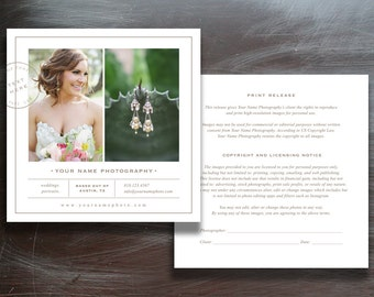Photographer Print Release Template - Photoshop Marketing - Copyright Form for Wedding Photographers (digital Photoshop files)
