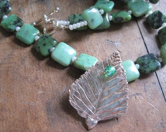 Green Apple Amazonite and Fine Silver LEAF Necklace