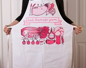 Cotton Canvas apron with Yummy Vegetable screen print