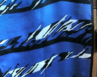 Vintage BILL BLASS Silk Scarf 52x10 Blue Black White Abstract