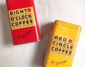 Advertising Coffee Tin Penny Banks, Eight O'Clock Coffee, Red Circle Coffee