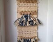 Woven Wool Fiber Wall Hanging, Blue & Cream