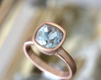 Genuine Aquamarine 14K Rose Gold Ring, Gemstone RIng, Cushion Shape Ring, Eco Friendly, Engagement Ring, Stacking Ring - Made To Order
