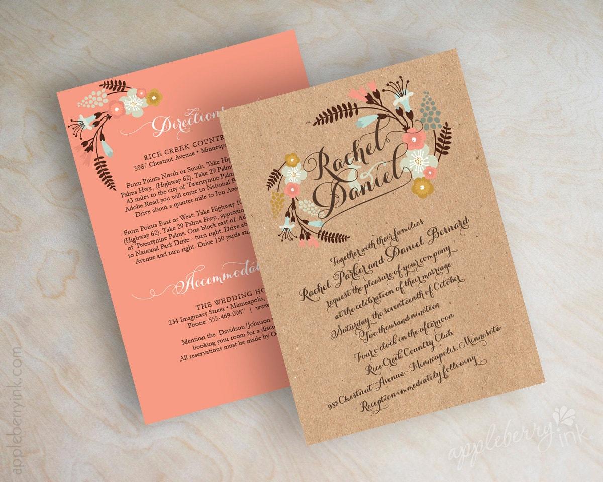 Boho Chic Wedding Invitations: Kraft Boho Chic Floral Wedding Invitations Kraft Botanical