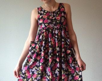 90s Floral Dress, Babydoll Dress, Floral Summer Dress, Empire Waist Dress, Sleeveless Tank Dress, Tank Dress, Ditzy Floral Dress, Boho XS