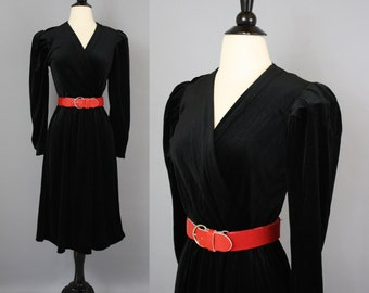 vintage 70s Black Velvet Wrap Bodice Midi Dress / Small
