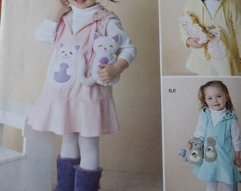 "Simplicity 1288 Toddler's Fleece Jumper and 7 1/2"" Stuffed Animals to Match (uncut)"