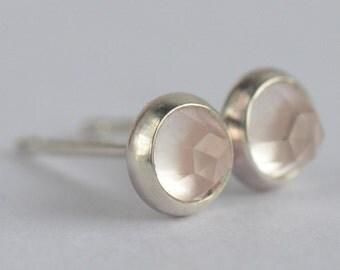 rose quartz 4mm rose cut sterling silver stud earrings pair