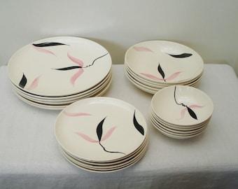 Vintage 23 Piece Pink & Black STT30 Stetson Dinnerware