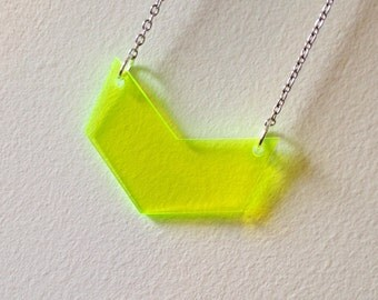 Geometric Neon Chevron Necklace, Flourescent Green Statement Jewelry, Gift for Women