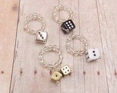 Wine Glass Charms - Black, White, Silver and Gold Dice - 4 piece set - Bunco - Farkle - Gambling - Craps - Yahtzee