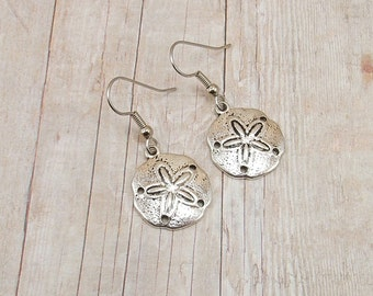 Earrings - Pewter Sand Dollars - Sea Biscuits - Seashells - Beach - Marine Life - Charms