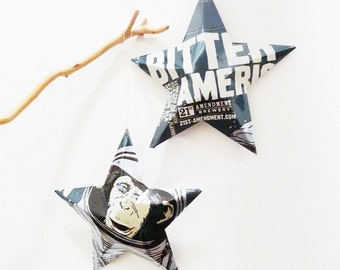 Bitter American Beer Stars, Christmas Ornaments, Aluminum Can, Upcycled